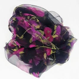 Hair foulard - BLACK & FUCHSIA